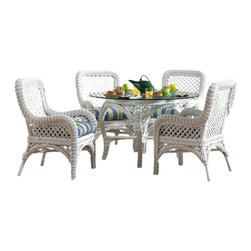 """Wicker Paradise - White Wicker Dining Set: Lanai White Wicker - For traditional elegance our Lanai white wicker dining set is always a great choice for adding warmth and style to your dining area.   Lanai White Wicker Dining Set Features:  -Timeless & Classic Looking Wicker Dining Furniture.  -Each Dining Chair has nice rounded arms for comfort that you will enjoy. Seat height is 18"""" high.  -Choose from over 100 premium quality fabrics for your Lanai wicker dining set cushions.  -This is a great complementary dining set that works in many areas and coordinates with other pieces you may have in that room.   The Lanai white wicker dining set of 5 takes the classic look of traditional white wicker design and brings it to the next level.   Lanai wicker dining chairs feature high back support, nice rounded arms, and generous inside seating for luxurious comfort."""
