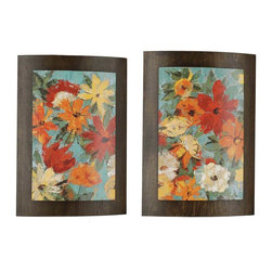 Paragon Decor - Garden - Convex Set of 2 - Floral images are stacked on a dark wood finished convex board.