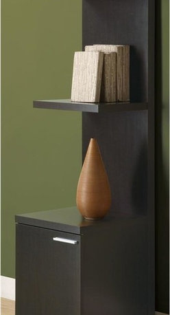 Monarch Specialties - Audio And Display Tower - Seek piece with clean lines. Storage cabinet below three shelves. Made from hollow core. Dark cappuccino finish. 15.5 in. W x 17 in. D x 63 in. H (45 lbs.)This contemporary audio and display tower offers combination storage for your home office.