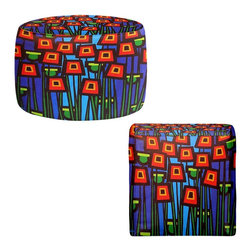 DiaNoche Designs - Ottoman Foot Stool by John Nolan - Night Poppies - Lightweight, artistic, bean bag style Ottomans. You now have a unique place to rest your legs or tush after a long day, on this firm, artistic furtniture!  Artist print on all sides. Dye Sublimation printing adheres the ink to the material for long life and durability.  Machine Washable on cold.  Product may vary slightly from image.