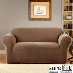 Sure Fit - Sure Fit Stretch Metro 1-piece Sofa Slipcover - Breathe new life into old furniture with this brown sofa slipcover. The stretchy fabric fits nicely into the nooks and crevices of your sofa for professional-looking results. The rich brown design appears warm and inviting and conveys effortless style.