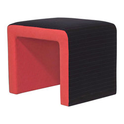 Madera Home - Monroe Black and Pink Pinstripe Velvet Ottoman - Fun and memorable, the Monroe is a dramatic ottoman with a pop art sensibility. The top is finished is an elegant black pinstriped velvet, with the underside in a shocking flamingo pink.