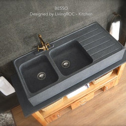 """Living'ROC - 47"""" x 22"""" x 8"""" Double Bowl Granite Stone Kitchen Sink - BESSO - Natural stone double bowl BESSO farmhouse kitchen sink - 47'x22'x8' - genuine high-end kitchen decoration in trendy gray granite. The 'Exceptional' cut in the block without any comparison with plastic cast iron fireclay stainless steel and other chemical resin often unaffordable. You will definitely not let anyone feel indifferent with this 100% natural stone unique in the US and exclusively available on Living'ROC.net and directly inspired from our French trendy range.BESSO is equipped with two deep large bowls (Drain hole template provided for easy installation) the drain hole size is 3.54' - 90mm each and the grooved dish drying rack which has been incorporated harmoniously with BESSO. You will appreciate BESSO'S simplicity beauty and practicality combination as well its smooth and matte finish. The kitchen sink surface is ecologically waterproofed. This Farmhouse kitchen sink has been designed to last a very long time giving you a great level of resistance and easy maintenance. Doubly waterproofed with our care our sink is ready to use can be installed on a piece of furniture or to integrate a custom tailored project. We have selected only the most beautiful stones for an exceptional quality. Our granite is perfectly adapted for kitchen use it is highly resistant to chipping and scratching and can withstand hot temperatures and tolerant a very high temperature changes.Our creation is delivered without a drain (not included) - every US kitchen drains models you can find on the market will fit perfectly on Living'ROC kitchen sink. This model is ready to use.The photos you see online have been taken with extreme care by our Founder CEO - Florent LEPVREAU because without them we would not be one of the natural stone business key player of the online European continent. Once you have encountered the product in your home you will always have pure happiness for the love of the materials. It wi"""