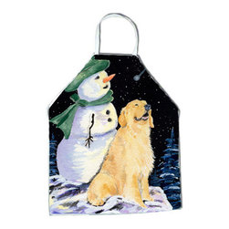 Caroline's Treasures - Golden Retriever Apron SS8577APRON - Apron, Bib Style, 27 in H x 31 in W; 100 percent  Ultra Spun Poly, White, braided nylon tie straps, sewn cloth neckband. These bib style aprons are not just for cooking - they are also great for cleaning, gardening, art projects, and other activities, too!