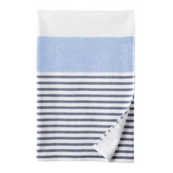 Serena & Lily - Fouta Bath Sheet  Navy/Chambray - Just like the fine Turkish towels that inspired them, ours have smooth cotton on one side and looped cotton terry on the other for added wicking. Sporty stripes in navy and chambray add a kick of color against bright white.