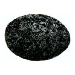 "Fur Accents - Classic Round Rug/Faux Fur Sheepskin/Plush and Cozy/Thick Black, 70"" - The Quintessential Faux fur Accent Rug / Round / Black / Shaggy but not too Shaggy / Animal Free and Eco Friendly / Perfect for that Soft Spot in your Favorite Room / Fur Accents Classic Black Sheepskin / Black Bear Designer Area Rugs"