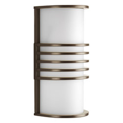 Progress Lighting - Progress Lighting P5914-20 One-Light Sconce With White Acrylic Half Cylinder - One-light ADA Wall Lantern in an Antique Bronze finish. Can be used indoors and outdoors. Top and bottom can be removed for indoor use as a versatile wall sconce.