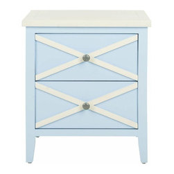 Used Two Drawer Side Table - Light Blue - The classic style of the Safavieh Sherrilyn two-drawer side table gets updated in a fresh light blue finish with charming contrasting white top and x-details on the drawers. A perfect companion bedside or beside a sofa.