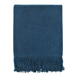 Nine Space - Brushed Organic Cotton Throw, Navy - As gentle on your skin as it is to the environment, this velvety soft throw is made from pure, brushed organic cotton. It adds a subtle shot of color and sophistication, whether draped along the back of a sofa or on the end of your bed. Its substantial weight offers just the right amount of warmth for an afternoon nap or cuddling on the couch for movie night.