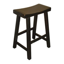 """International Concepts - 24"""" Saddleseat Counter Stool (Distressed Black) - The Saddleseat stool is a basic backless stool whose seat is curved for comfort and whose casual, country design brings a touch of the Old West to any bar or setup. The stool is featured here in the Black finish. Features: -Fully assembled .-Suited for residential use only .-Distressed black finish .-Available separately in rustic oak finish .-Seat height: 23.75"""" .-Seat dimensions:17 3/4""""W x 9""""W .-Due to nature of curved seat construction, seat height subject to vary by 1/2 inch .-Legs: 1 1/2"""" Square .-Leg spreads: 17 1/4""""(from front), 14 1/2""""(from side) .-Overall dimensions: 24.25"""" H x 17.5"""" W x 9"""" D ."""