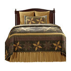 """VHC Brands - Amherst 4 Piece King Size Quilt Ensemble - This beautiful, 100% cotton, quilt features a patchwork eight-point star design in the colors of black, mustard gold, brown tones, tan and cream.  The over-sized quilts are machine cut and pieced with hand quilted stitch in the ditch style quilting. The shams also feature the same great patchwork design and hand quilting as the quilt. The back of the sham features a 3"""" over-lap with 3 buttons to conceal your pillow insert. The bed skirt features an all over mustard gold and cream plaid with a 16"""" drop. The deck is white cotton with a 3"""" fabric border matching the ruffle. Front skirt panel overlaps sides by 2.5"""" at the front corners. Corners are split to allow for foot-boards. Quilts, skirt and shams are machine washable. Please follow manufacture's directions. This ensemble includes the king quilt, king bed skirt and 2 king quilted shams. King quilt measures 110"""" x 97"""", king bed skirt measures 78"""" x 80"""" x 16"""" and the king shams measure 21"""" x 37""""."""