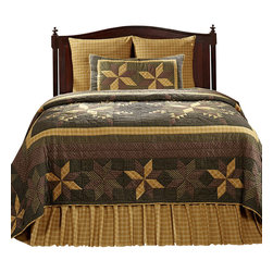 "VHC Brands - Amherst 3 Piece King Size Quilt Ensemble - This beautiful, 100% cotton, quilt features a patchwork eight-point star design in the colors of black, mustard gold, brown tones, tan and cream.  The over-sized quilts are machine cut and pieced with hand quilted stitch in the ditch style quilting. The shams also feature the same great patchwork design and hand quilting as the quilt. The back of the sham features a 3"" over-lap with 3 buttons to conceal your pillow insert. Quilts and shams are machine washable. Please follow manufacture's directions. This ensemble includes the king quilt and 2 king quilted shams. King quilt measures 110"" x 97"" and the king shams measure 21"" x 37""."