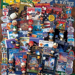 Football Fantasy Puzzle - 1000 Piece Jigsaw PuzzleA collage of gridiron bobble-heads, Super Bowl program covers, pennants and championship memorabilia a favorite for football fans of all     teams!  A Best Selling 2008 Summer/Fall Collection Puzzle. � David M. Spindel