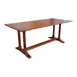 Twin Column Trestle Table - Handcrafted Tiger Maple twin column trestle table, Solid Wood. Custom sizes and other woods available