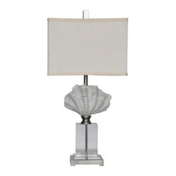 "Lamps Plus - Contemporary Crestview Collection Crystal Beach White Shell Table Lamp - Bring oceanside allure into your space with this contemporary coastal table lamp featuring a sculpted white sea shell. This stylized naturalistic design sits atop a stand of gleaming clear crystal and is completed by a rectangular white shade with top and bottom trim. Revitalize your decor with this wonderful piece from Crestview Collection lighting. Shell motif transitional table lamp. White shell finish. Resin crystal and metal construction. White linen rectangular shade with trim. Clear crystal stand. Brushed silver finish square base. Takes one 100 watt 3-way bulb (not included). Shade measures 14"" wide 9"" deep and 10"" high. 28 1/2"" high.  Shell motif transitional table lamp.  White shell finish.  Resin crystal and metal construction.  White linen rectangular shade with trim.  Clear crystal stand.  Brushed silver finish square base.  Takes one 100 watt 3-way bulb (not included).  Shade measures 14"" wide 9"" deep and 10"" high.  28 1/2"" high."
