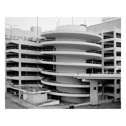 Parking Deck Spiral, Rich's Downtown Department Store, 45 Broad Street Print - View of parking deck spiral exit ramp detail, from northwest looking southeast. Rich's Downtown Department Store, 45 Broad Street, Atlanta, Fulton, GA. Other Title: Rich's Downtown. Photograph by Jennifer Almand. Significance: The original 1924 building, which has been added to eight times, reflects the appearance of an Italian palazzo, a favorite theme associated with department stores constructed in the early twentieth century. The 1946/1948 Store for Homes addition is one of Atlanta's earliest examples of International Style architecture. The Rich's complex is eligible for listing on the National Register of Historic Places. Rich's is significant as the focus of retail shopping in downtown Atlanta since the store's opening in 1924, and as the location from which Civil Rights leader Martin Luther King, Jr. was arrested following a sit-in as Rich's Magnolia Room restaurant, leading to his first night ever spent in jail.