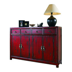 "Silver Nest - Asian Red Cabinet- 58x15 40""h - This tall-waisted Asian inspired console features the appeal of a unique size. It has four drawers, four doors with one adjustable shelf and a rich red finish."