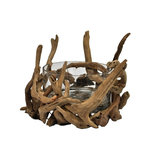 Eangee - Driftwood Round Bowl - Natural - This piece features real, individual pieces of driftwood formed together through hammer and nail to create a decorative bowl. The glass is included. The driftwood features a natural finish. Real driftwood, hand made and eco friendly. Color: Natural. 4 in. L x 5 in. W x 9 in. H (4 lbs.)
