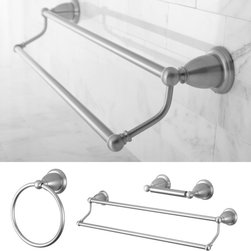 None - Heritage Satin Nickel 3-piece Double Towel Bar Set - Easily renew the appearance and design of your bathroom with this 3-piece bath set in a satin nickel finish. This luxurious set features strong and durable construction to create a long-lasting addition to your bathroom.
