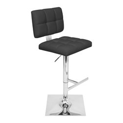 "Lumisource - Glamour Barstool Black - With a name like Glamour, you know you can expect a new, exciting barstool. In addition to a polished chrome footrest and uniqure square trumpet base, a stylish tufted seat combines comfort with glitz. Seat height adjusts from 25.25"" to 33.25"" and this barstool swivels 360 degrees."