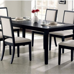 None - Robles Black and Creme Chenille 7-piece Dining Set - Enhance your dining room with the modern simplicity of this seven piece dining set. The table features clean,crisp lines and square legs bathed in deep distressed black finish,while an 18-inch leaf adds to functionality.