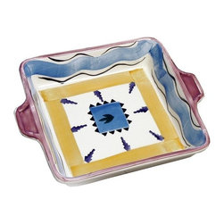 La Pavoni - Hand Painted Italian Ceramics Square Baking Tray with Handles - Glazed top and bottom. Can be used for serving or display. All are FDA food safe approved. Hand wash is recommended. 1-Year warranty. 9 in. L x 9 in. W x 2.5 in. H