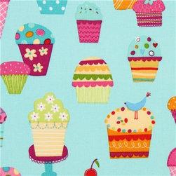 light blue fabric sundaes & cupcakes Robert Kaufman kawaii - kawaii fabric with many colourful ice cream cups by Lesley Grainger from the USA