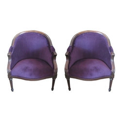 EcoFirstArt - Purple Regency Chairs - 1930 Regency Chairs reupholstered. This pair may be purchased as a pair or separately.