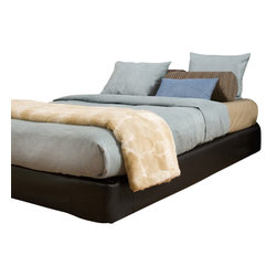 Howard Elliott - Black Faux Leather Queen Platform Bedroom Set (Kit and Cover) - Convert a basic boxspring into a platform bed using HECs boxspring slip-cover & frame support. Simply fasten the frame support to your current boxspring then slip on the cover (included). It really is that easy! Boxspring mattress sold separately. Includes frame supports, hardware, feet & cover. Fits most standard size boxspring mattresses. Black faux leather cover provides the perfect base for your bedding. Finish the look by adding 8 of the Avanti black pixels #PB2-194.