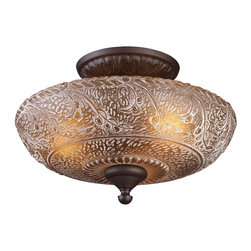 Elk Lighting - Elk Lighting Norwich Semi Flush with Oiled Bronze X-3-19166 - The Amber Restoration Glass Of Norwich Collection Features A Timeless Motif That Is Warm And Inviting.  The Turned Center Column And Ironwork Is Complemented By An Oiled Bronze Finish