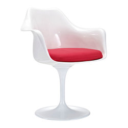 Tulip Armchair in Red - Ideal for breakfast nooks, small spaces, office tables, and awkward corners in the home that require a compact piece, this elegant and timeless design ups the retro quality of any mod kitchen or vintage-inspired home.
