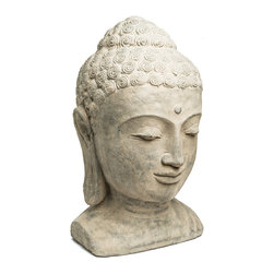 Repose Home - Sovereign Buddha Head - At 14 inches high, our large Buddha head is sure to be a dramatic focal point in your garden. Cast in elegant, stone washed volcanic ash and weatherproofed for indoor or outdoor use.