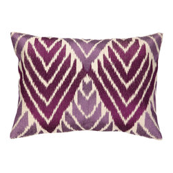 """DL Rhein - DL Rhein Cypress Magenta & Plum Embroidered Pillow - DL Rhein's Cypress pillow captivates with a striking geometric design. Visually intriguing, this cream decorative accessory dazzles with an embroidered magenta and plum purple diamond pattern. 20""""W x 14""""H; 100% ramie; Dry clean only; Feather-down fill insert included"""