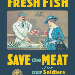 Buyenlarge - Buy Fresh Fish - Save the Meat for our Soldiers and Allies 28x42 Giclee on Canva - Series: Seafood in Advertising