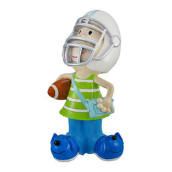 Child Football Player With Helmet Jumbo Coin Bank - Who says football and fashion don`t mix? This adorable coin bank kid is both a football star and a trend-setter. Carrying the ol` pigskin and wearing his helmet, this little athlete is ready to take the field. The trendy tyke also sports a green and white striped tank top, a cool light blue shoulder bag, and some sleek blue doggy slippers. The cold cast resin coin bank measures 15 inches tall, 8 inches wide, and 6 inches deep. The large coin slot on the back of the helmet will fit most coins and folded bills. Don`t fill this kid`s head with nonsense; fill it with dollars and cents! A twistable plastic cap on the bottom allows easy access to all that hard-earned currency. Encourage a savings habit and add a lively decorative piece to any kid`s room.