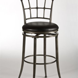 Hillsdale Furniture - Swivel Stool (31 in. Bar Height) - Choose Size: 31 in. Bar HeightBlack rubbed pewter finishCross-hatched back360 degree swivelBlack vinyl covering. 17 in. W x 20 in. D x 41 in. H (21 lbs.)Distinctly modern, the Claymont Stool is a contemporary classic ideal for freshening up the old-fashioned. Constructed of metal with a black rubbed pewter finish, the Claymont features a cross-hatched back that adds a touch of symmetry and balance to its airy presence. A high gloss black vinyl covering accents the 360 degree swivel stool seat. Some assembly required.