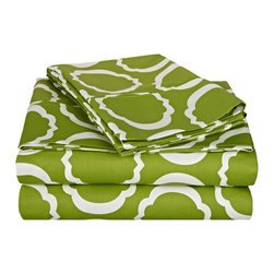 """600 Thread Count Full Sheet Set Cotton Rich Scroll Park - Green/White - Brighten up your home with this sheet set from the Scroll Park Collection. Featuring a modern redesign of an ancient symbol, an emblem of positive energy, this sheet set will make you feel like you're surrounded by pure positivity. Set includes one flat sheet 81""""x96"""", one fitted sheet 54""""x75"""", and two pillowcases 20""""x30"""" each."""