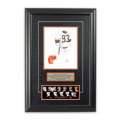 "Heritage Sports Art - Original art of the NFL 1950 Cleveland Browns uniform - This beautifully framed piece features an original piece of watercolor artwork glass-framed in an attractive two inch wide black resin frame with a double mat. The outer dimensions of the framed piece are approximately 17"" wide x 24.5"" high, although the exact size will vary according to the size of the original piece of art. At the core of the framed piece is the actual piece of original artwork as painted by the artist on textured 100% rag, water-marked watercolor paper. In many cases the original artwork has handwritten notes in pencil from the artist. Simply put, this is beautiful, one-of-a-kind artwork. The outer mat is a rich textured black acid-free mat with a decorative inset white v-groove, while the inner mat is a complimentary colored acid-free mat reflecting one of the team's primary colors. The image of this framed piece shows the mat color that we use (Orange). Beneath the artwork is a silver plate with black text describing the original artwork. The text for this piece will read: This original, one-of-a-kind watercolor painting of the 1950 Cleveland Browns uniform is the original artwork that was used in the creation of this Cleveland Browns uniform evolution print and tens of thousands of other Cleveland Browns products that have been sold across North America. This original piece of art was painted by artist Nola McConnan for Maple Leaf Productions Ltd.  1950 was a NFL Championship winning season for the Cleveland Browns. Beneath the silver plate is a 3"" x 9"" reproduction of a well known, best-selling print that celebrates the history of the team. The print beautifully illustrates the chronological evolution of the team's uniform and shows you how the original art was used in the creation of this print. If you look closely, you will see that the print features the actual artwork being offered for sale. The piece is framed with an extremely high quality framing glass. We have used this glass style for many years with excellent results. We package every piece very carefully in a double layer of bubble wrap and a rigid double-wall cardboard package to avoid breakage at any point during the shipping process, but if damage does occur, we will gladly repair, replace or refund. Please note that all of our products come with a 90 day 100% satisfaction guarantee. Each framed piece also comes with a two page letter signed by Scott Sillcox describing the history behind the art. If there was an extra-special story about your piece of art, that story will be included in the letter. When you receive your framed piece, you should find the letter lightly attached to the front of the framed piece. If you have any questions, at any time, about the actual artwork or about any of the artist's handwritten notes on the artwork, I would love to tell you about them. After placing your order, please click the ""Contact Seller"" button to message me and I will tell you everything I can about your original piece of art. The artists and I spent well over ten years of our lives creating these pieces of original artwork, and in many cases there are stories I can tell you about your actual piece of artwork that might add an extra element of interest in your one-of-a-kind purchase."