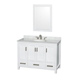 Wyndham Collection - Wyndham Collection WCS141448SWH Sheffield 48-in. Single Bathroom Vanity Set with - Shop for Bathroom Cabinets from Hayneedle.com! Just add the Wyndham Collection WCS141448SWH Sheffield 48-in. Single Bathroom Vanity Set with Mirror - White to your bathroom and you can practically see the interior design-magazine photo shoot coming together in your own bathroom. The elegant and casual style of this wide single-sink vanity starts with a cabinet of solid wood that's put through a 12-step preparation and finishing process that results in a clean white finish that's environmentally friendly and low in VOCs. Four doors open to reveal three open storage compartments and three pull-out drawers offer further storage. Each deeply doweled drawer slides on fully extendable metal glides so you can use every inch of interior storage. The drawers and doors all feature self-closing soft-touch latches. A full range of material and color options let you customize the vanity top and undermount sink to your personal tastes. You even have the option of not purchasing either leaving you open to do some serious customizing on your own. A matching mirror extends this charming style up onto your walls with the same wooden frame and finish supporting a thick beveled-edge mirror. Brushed chrome hardware pulls provide a pleasant contrast to the snowy white finish and give this cabinet an appealing contemporary look.Product Dimensions:Vanity dimensions with top: 48W x 22D x 35H in. Mirror dimensions: 24W x 33H in. About the Wyndham CollectionWyndham and the Wyndham collection are all about refinement detailing uniqueness quality and longevity. They are dedicated to the quality of their products and own the factory where each piece is constructed. This allows Wyndham to offer products that reflect the rigorous quality standards required for every piece that is offered to their customers. The Wyndham collection showcases elegant modern design styles that highlight functionalit