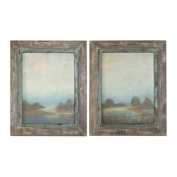 Uttermost - Uttermost Morning Vistas Framed Art, Set of 2 - 51076 - -Uttermost's landscape art combines premium quality materials with unique high-style design.
