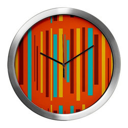 Crash Pad Designs - Mod Wall Clock - Our 14 inch mod wall clock, will make a big retro statement in your pad. This aluminum clock has a quartz movement, aluminum hands, and a glass cover. The face is your favorite Crash Pad Designs pattern.  * 1 AA battery included