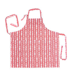 Working Class Studio - Bacon n' Eggs Collection - Bacon - Apron - You'll look good enough to eat in this playful printed apron striped with sizzling red bacon strips. Don't be surprised if your husband starts following you around the kitchen.