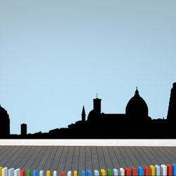 Pisa Italy Skyline Vinyl Wall Decal or Car Sticker SS121EY; 120 in. - THE DEFAULT COLOR OF THE DECAL IS BLACK.