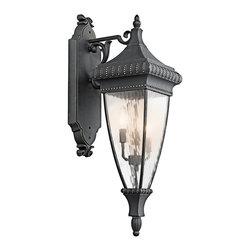 Kichler - Kichler Venetian Rain Outdoor Wall Mount Light Fixture in Black with Gold - Shown in picture: Kichler Outdoor Wall Lantern 3Lt in Black W/Gold