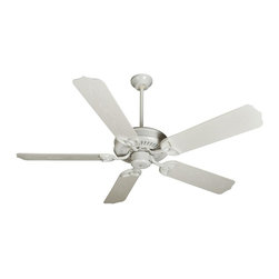 Craftmade - Patio 52 in. Fan in White w Outdoor Standard - Fan Specs:. Heavy-Duty, 3 Speed Non-Reversible Motor. 2 in. and 6 in. Downrods (Included). Suitable for Wet Locations. Standard Pull Chain Control. Number of Fan Blades: 5. Blade Pitch: 14°. Motor Size: 188 x 15mm. High Speed Amps: 0.7. RPM (Hi-Med-Low): 210-120-78. Airflow (Cubic FT/MIN): 6131. Electricity Use: 71 Watts. Airflow Efficiency (Cubic FT/Min/Watt): 85. Blade Specs:. Blade Length: 52 in.. Suitable for Wet Locations