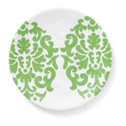Q Squared NYC - Victorian Emblem Appetizer Plate Set/6 - Playful, intertwining leaves cascade next to chic Victorian emblem.