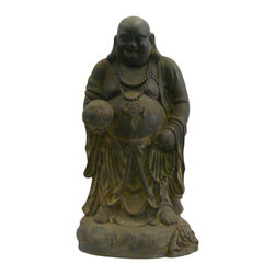 "Golden Lotus - Chinese Rustic Iron Standing Happy Buddha Figure - Dimensions:  Dia 7.5"" x h15.5"""