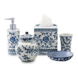 "Ming Bath Accessories, Blue & White - Blue and White...always classic, always beautiful!  The Ming Bath Accessories are available as individual pieces or as a set.  Each piece depicts different blue and white patterns from cherry blossoms to chrysanthemums to vines.   • Tissue-Box Cover: 5"" sq., 5 3/4""H• Soap/Lotion Dispenser: 2 3/4"" diam., 8 1/4""H• Lidded Pot: 5"" diam., 6""H• Toothbrush Holder: 3"" diam., 4""H• Oval Soap Dish: 5 1/4""W x 3 3/4""D x 1 1/4""H• Tissue-box cover fits a standard boutique-size box• Dispenser has a chrome-plated pump$158 for full set"