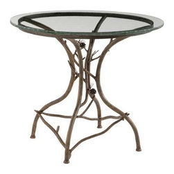Stone County Ironworks - Table with Round Glass Tabletop - 36 in. round glass top. Features the stunning textures and twigs. Hand forged pinecone base. Great accent piece for the living room. 36 in. Dia. (73 lbs.)Dazzling hand-forged realism reflected in the natural beauty of this evergreen conifer. The gifted black-smith artisans here in the hills of Arkansas make every effort to translate every detail, from the rustic elegance of a hand-made pine-cone, to the warm texture of hammered bark. Transform any room by bringing the great outdoors inside.