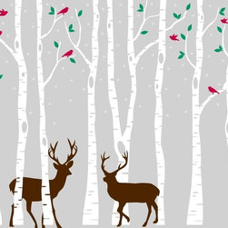 Innovative Stencils - Birch Tree Wall Decal Forest with Snow Birds and Deer Vinyl Sticker Removable, S - Scheme 3 colors: